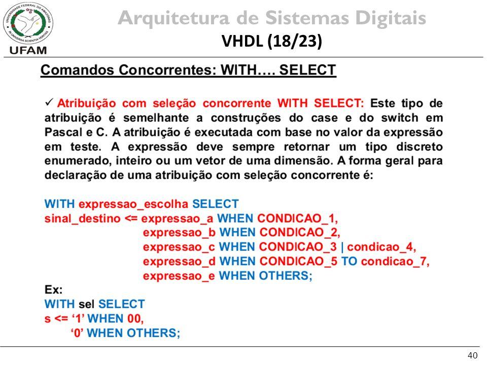 40 Arquitetura de Sistemas Digitais VHDL (18/23)