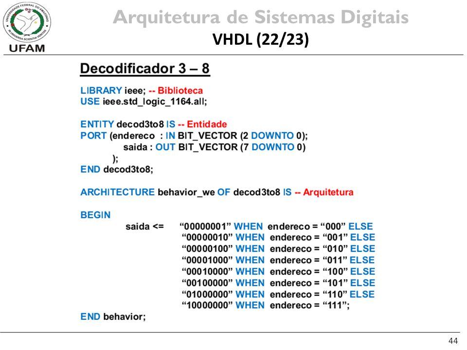 44 Arquitetura de Sistemas Digitais VHDL (22/23)