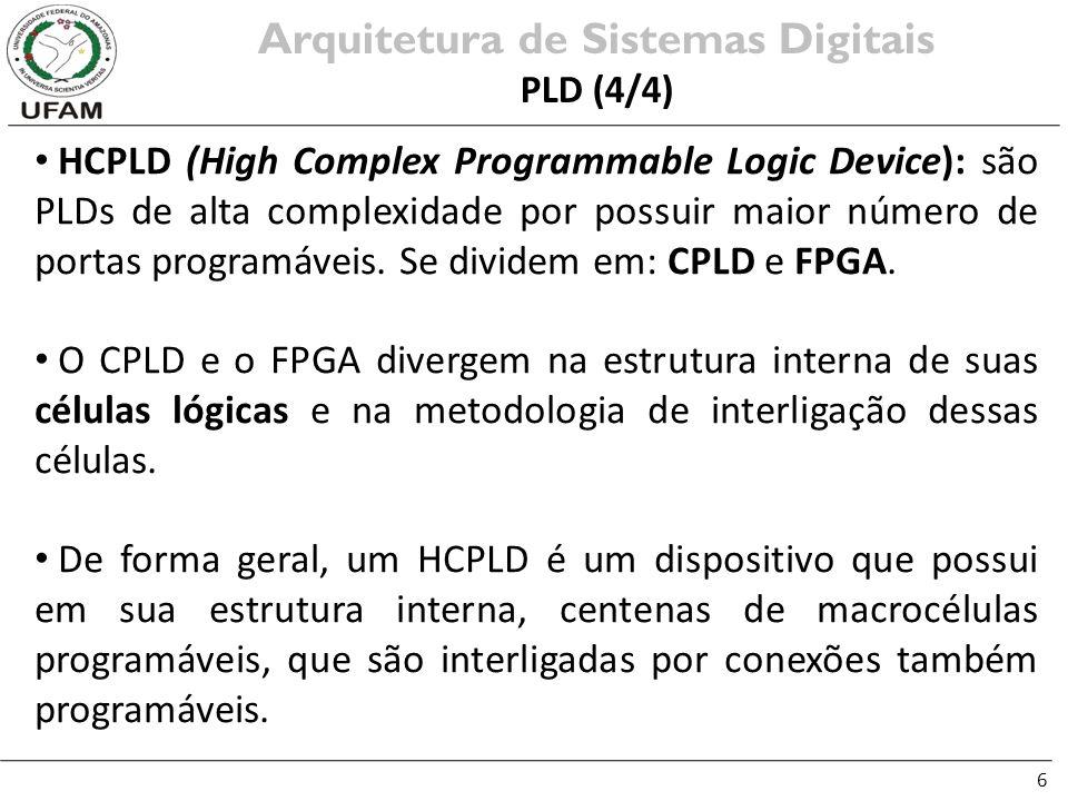 6 HCPLD (High Complex Programmable Logic Device): são PLDs de alta complexidade por possuir maior número de portas programáveis. Se dividem em: CPLD e