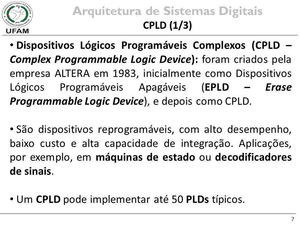 7 Dispositivos Lógicos Programáveis Complexos (CPLD – Complex Programmable Logic Device): foram criados pela empresa ALTERA em 1983, inicialmente como