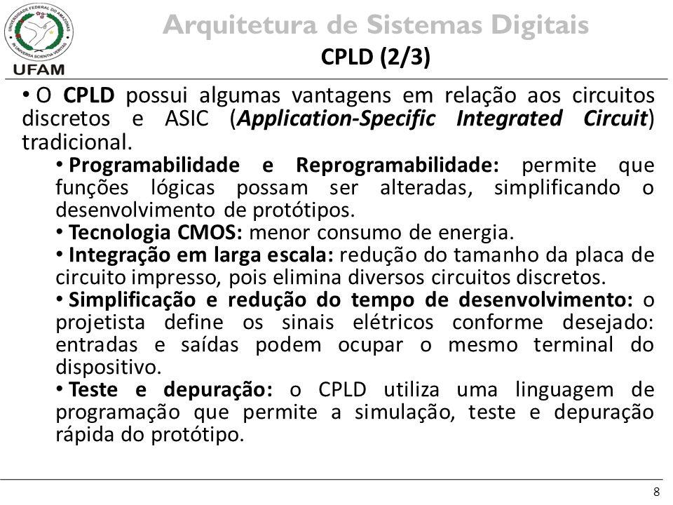 8 O CPLD possui algumas vantagens em relação aos circuitos discretos e ASIC (Application-Specific Integrated Circuit) tradicional. Programabilidade e