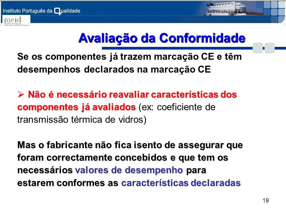Se os componentes já trazem marcação CE e têm desempenhos declarados na marcação CE Não é necessário reavaliar características dos Não é necessário re