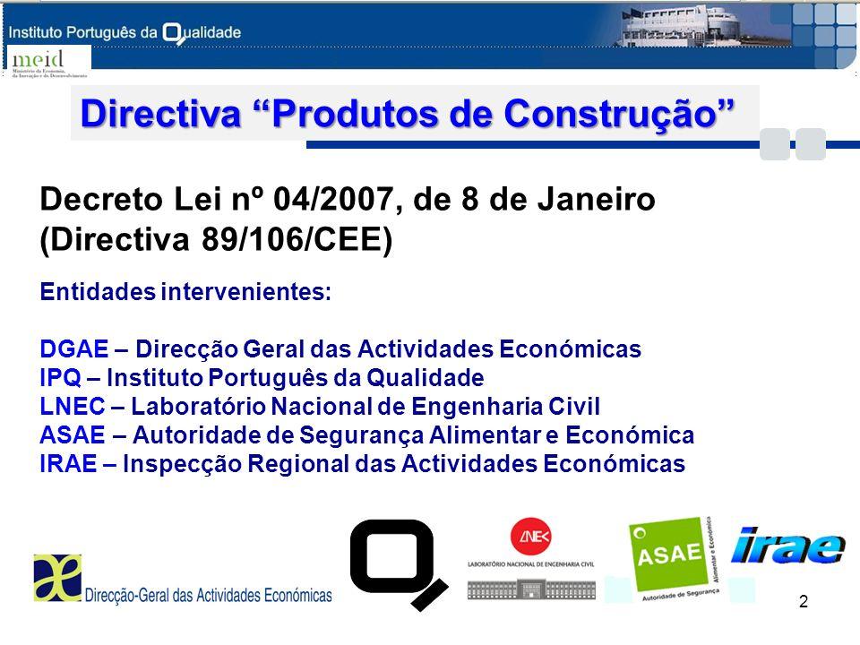 Directiva DPC Competências do IPQ (nº3 do Art.13º) Qualificação de Organismos Notificados: Organismos de certificação ( i) Organismos de certificação (NPEN 45011, NPEN ISO/IEC 17021) ii) Organismos de inspecção ii) Organismos de inspecção (NPEN ISO/IEC17020) iii) Laboratórios de ensaio e de cálculo iii) Laboratórios de ensaio e de cálculo ( NPEN ISO/IEC 17025) Notificação de Organismos Notificados: 3