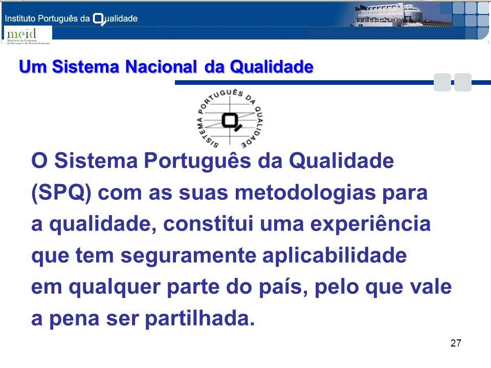 Um Sistema Nacional da Qualidade O Sistema Português da Qualidade (SPQ) com as suas metodologias para a qualidade, constitui uma experiência que tem s