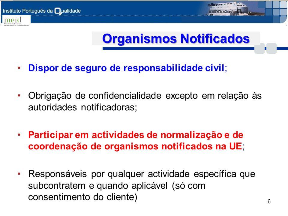 Organismos Notificados Dispor de seguro de responsabilidade civil; Obrigação de confidencialidade excepto em relação às autoridades notificadoras; Par