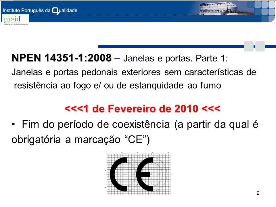 NPEN 14351-1:2008 NPEN 14351-1:2008 – Janelas e portas. Parte 1: Janelas e portas pedonais exteriores sem características de resistência ao fogo e/ ou