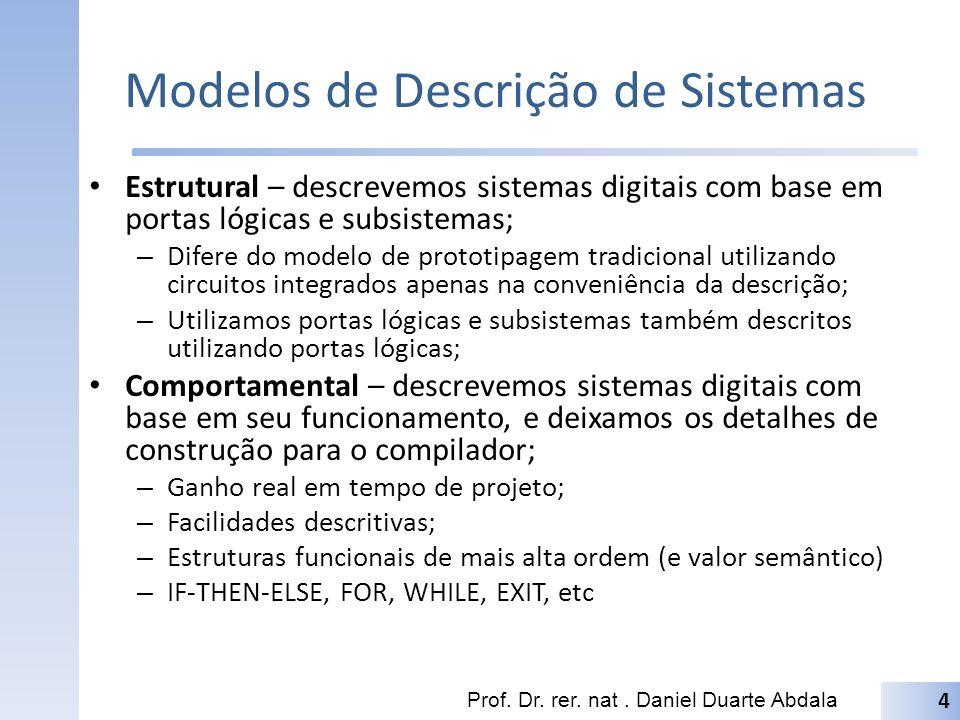 Modelos de Descrição de Sistemas Estrutural – descrevemos sistemas digitais com base em portas lógicas e subsistemas; – Difere do modelo de prototipag