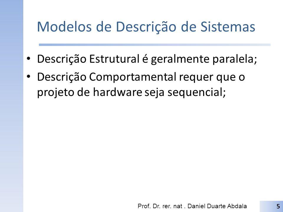 Modelos de Descrição de Sistemas Descrição Estrutural é geralmente paralela; Descrição Comportamental requer que o projeto de hardware seja sequencial