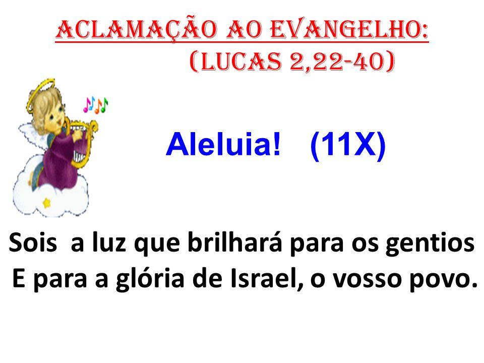 ACLAMAÇÃO AO EVANGELHO: (Lucas 2,22-40) Aleluia! (11X) Sois a luz que brilhará para os gentios E para a glória de Israel, o vosso povo.