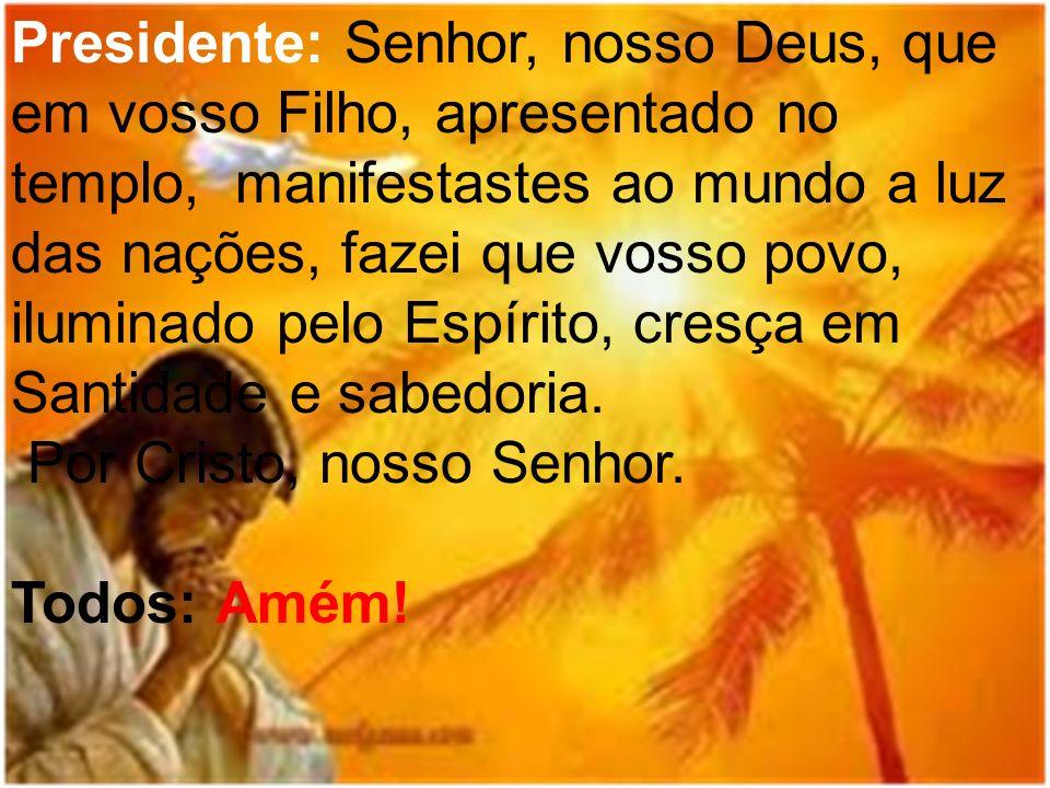 Presidente: Senhor, nosso Deus, que em vosso Filho, apresentado no templo, manifestastes ao mundo a luz das nações, fazei que vosso povo, iluminado pe