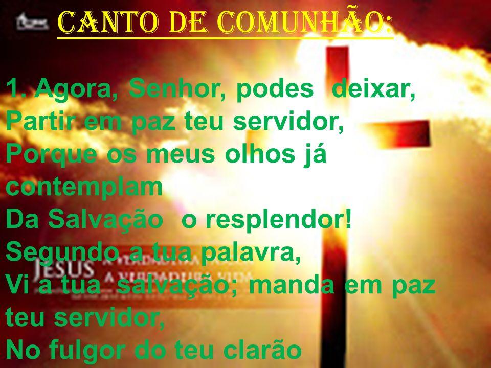 CANTO DE COMUNHÃO: 1. Agora, Senhor, podes deixar, Partir em paz teu servidor, Porque os meus olhos já contemplam Da Salvação o resplendor! Segundo a