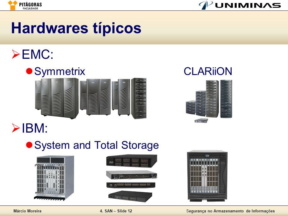 Márcio Moreira4. SAN – Slide 12Segurança no Armazenamento de Informações Hardwares típicos EMC: SymmetrixCLARiiON IBM: System and Total Storage