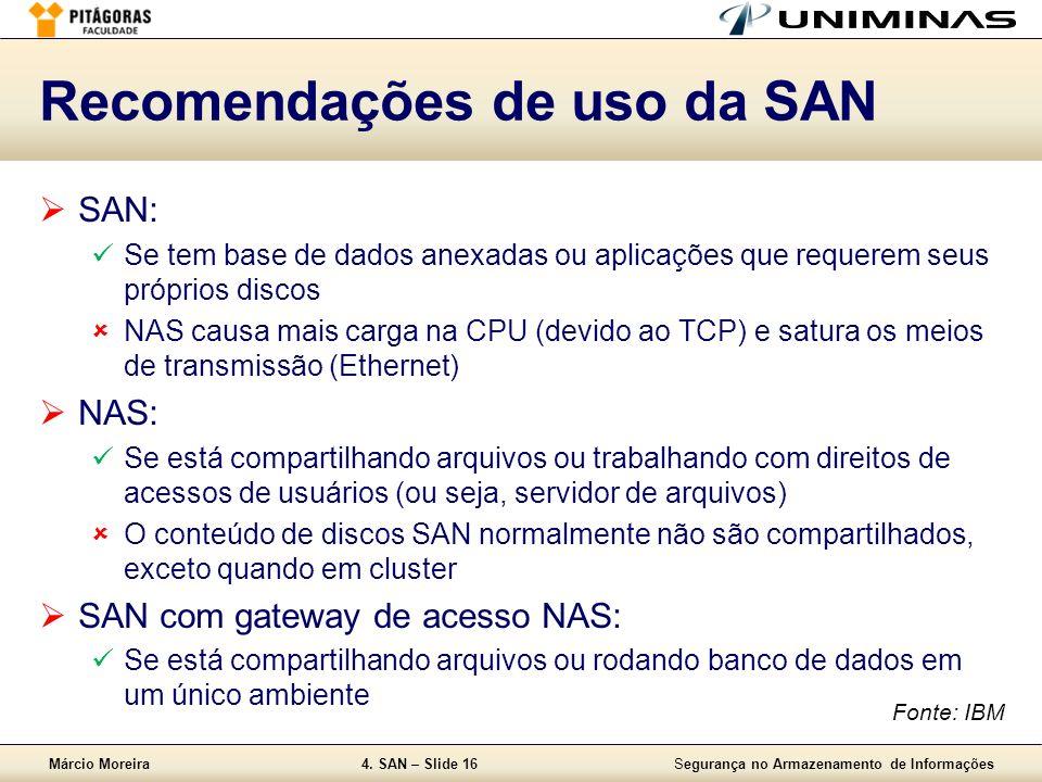 Márcio Moreira4. SAN – Slide 16Segurança no Armazenamento de Informações Recomendações de uso da SAN SAN: Se tem base de dados anexadas ou aplicações