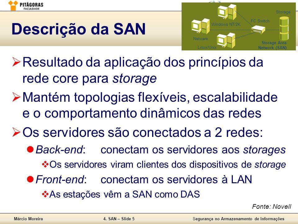 Márcio Moreira4. SAN – Slide 5Segurança no Armazenamento de Informações Descrição da SAN Resultado da aplicação dos princípios da rede core para stora