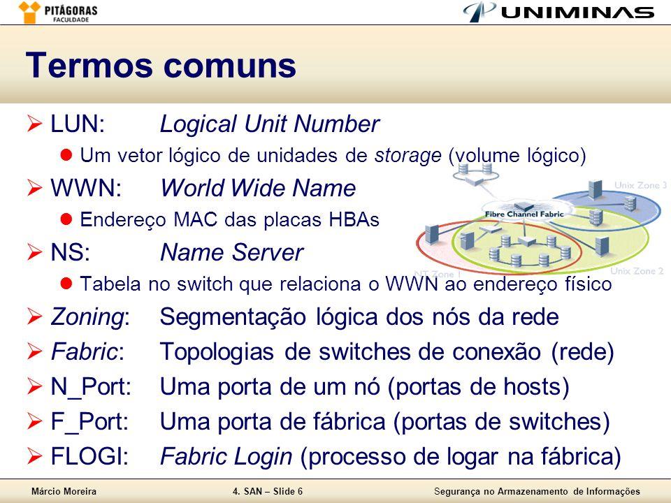 Márcio Moreira4. SAN – Slide 6Segurança no Armazenamento de Informações Termos comuns LUN:Logical Unit Number Um vetor lógico de unidades de storage (