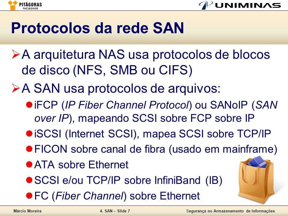 Márcio Moreira4. SAN – Slide 7Segurança no Armazenamento de Informações Protocolos da rede SAN A arquitetura NAS usa protocolos de blocos de disco (NF