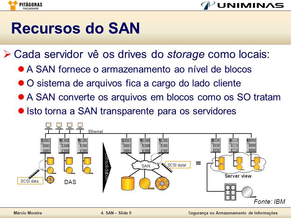 Márcio Moreira4. SAN – Slide 9Segurança no Armazenamento de Informações Recursos do SAN Cada servidor vê os drives do storage como locais: A SAN forne