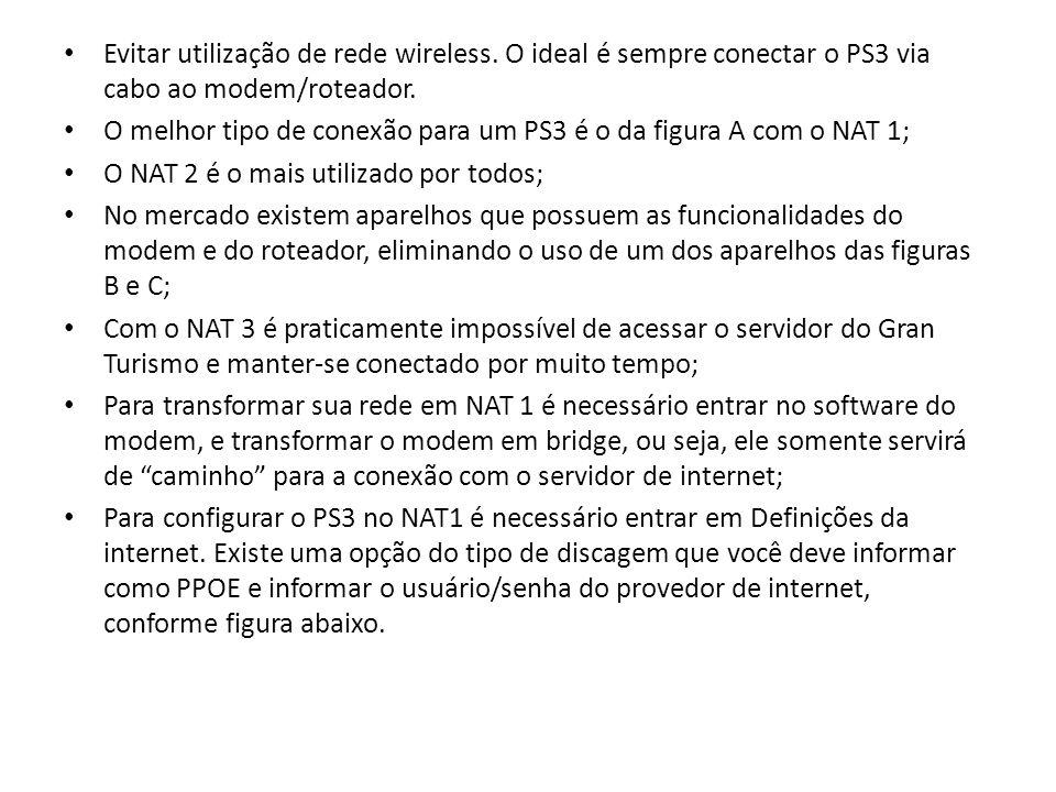 Evitar utilização de rede wireless. O ideal é sempre conectar o PS3 via cabo ao modem/roteador. O melhor tipo de conexão para um PS3 é o da figura A c