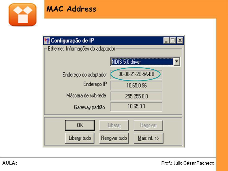 Ferramentas de Desenvolvimento Web Prof.: Julio César PachecoAULA : MAC Address MAC ADDRESS