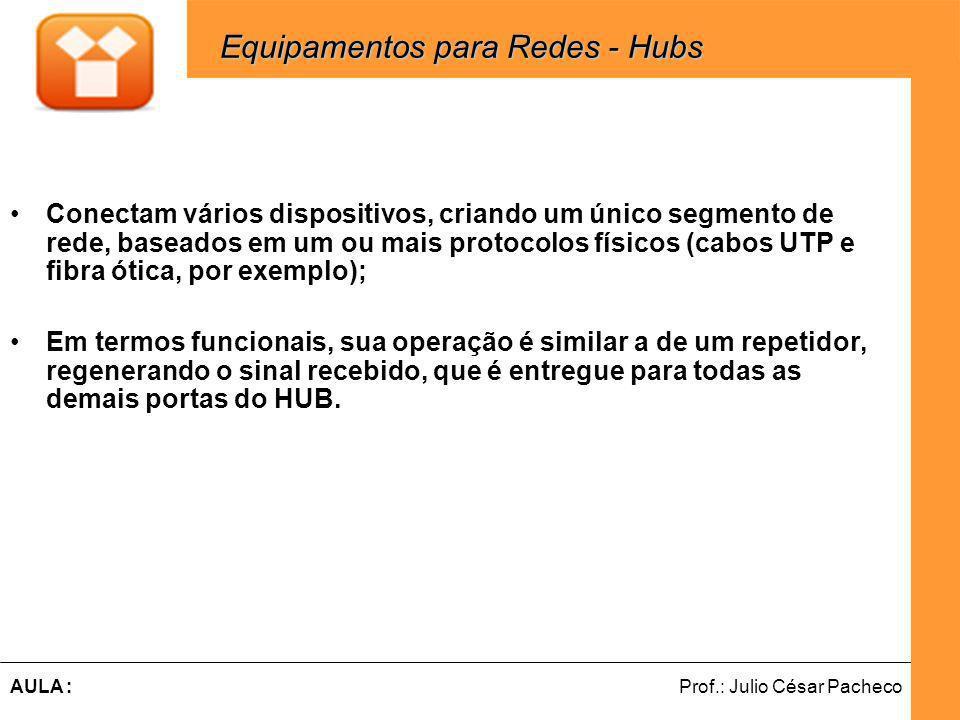 Ferramentas de Desenvolvimento Web Prof.: Julio César PachecoAULA : Conectam vários dispositivos, criando um único segmento de rede, baseados em um ou mais protocolos físicos (cabos UTP e fibra ótica, por exemplo); Em termos funcionais, sua operação é similar a de um repetidor, regenerando o sinal recebido, que é entregue para todas as demais portas do HUB.