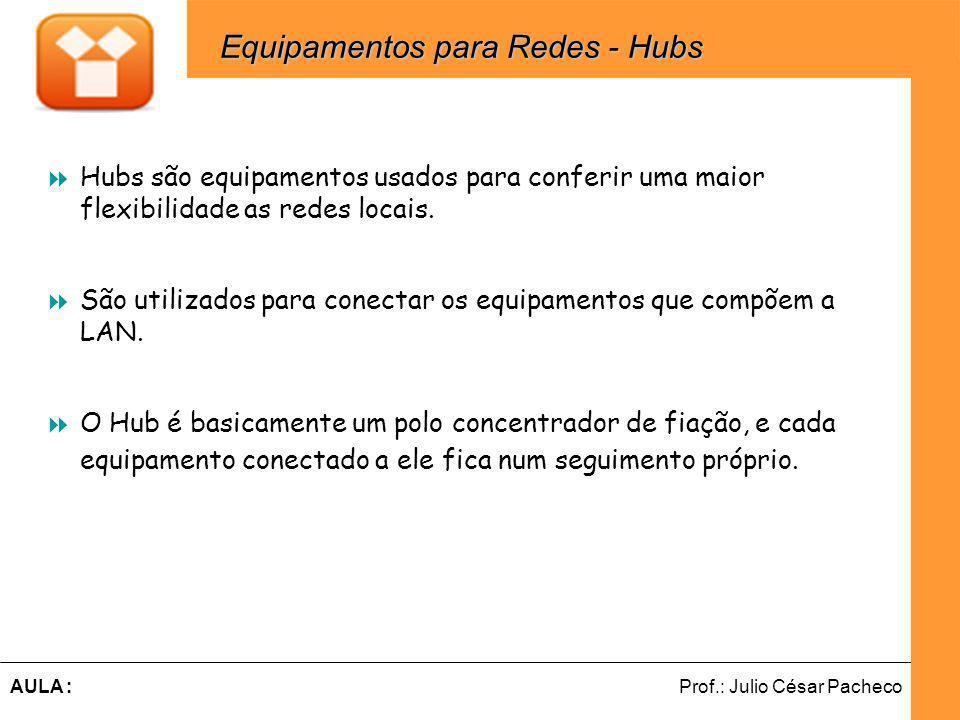 Ferramentas de Desenvolvimento Web Prof.: Julio César PachecoAULA : Hubs são equipamentos usados para conferir uma maior flexibilidade as redes locais.