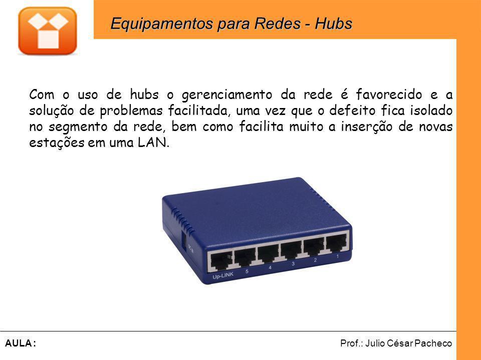 Ferramentas de Desenvolvimento Web Prof.: Julio César PachecoAULA : Com o uso de hubs o gerenciamento da rede é favorecido e a solução de problemas facilitada, uma vez que o defeito fica isolado no segmento da rede, bem como facilita muito a inserção de novas estações em uma LAN.