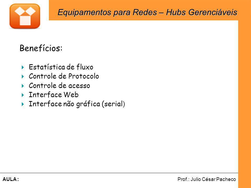 Ferramentas de Desenvolvimento Web Prof.: Julio César PachecoAULA : Benefícios: Estatística de fluxo Controle de Protocolo Controle de acesso Interface Web Interface não gráfica (serial ) Equipamentos para Redes – Hubs Gerenciáveis Equipamentos para Redes – Hubs Gerenciáveis