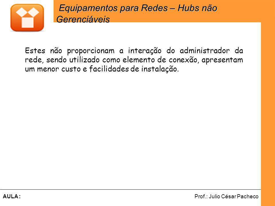 Ferramentas de Desenvolvimento Web Prof.: Julio César PachecoAULA : Estes não proporcionam a interação do administrador da rede, sendo utilizado como elemento de conexão, apresentam um menor custo e facilidades de instalação.