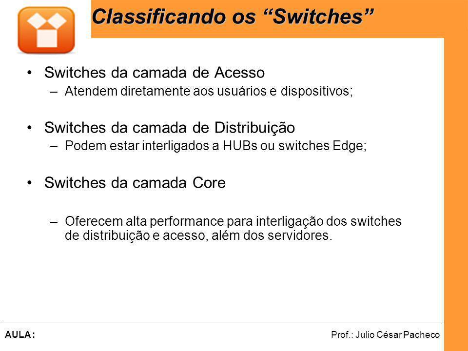 Ferramentas de Desenvolvimento Web Prof.: Julio César PachecoAULA : Classificando os Switches Switches da camada de Acesso –Atendem diretamente aos usuários e dispositivos; Switches da camada de Distribuição –Podem estar interligados a HUBs ou switches Edge; Switches da camada Core –Oferecem alta performance para interligação dos switches de distribuição e acesso, além dos servidores.