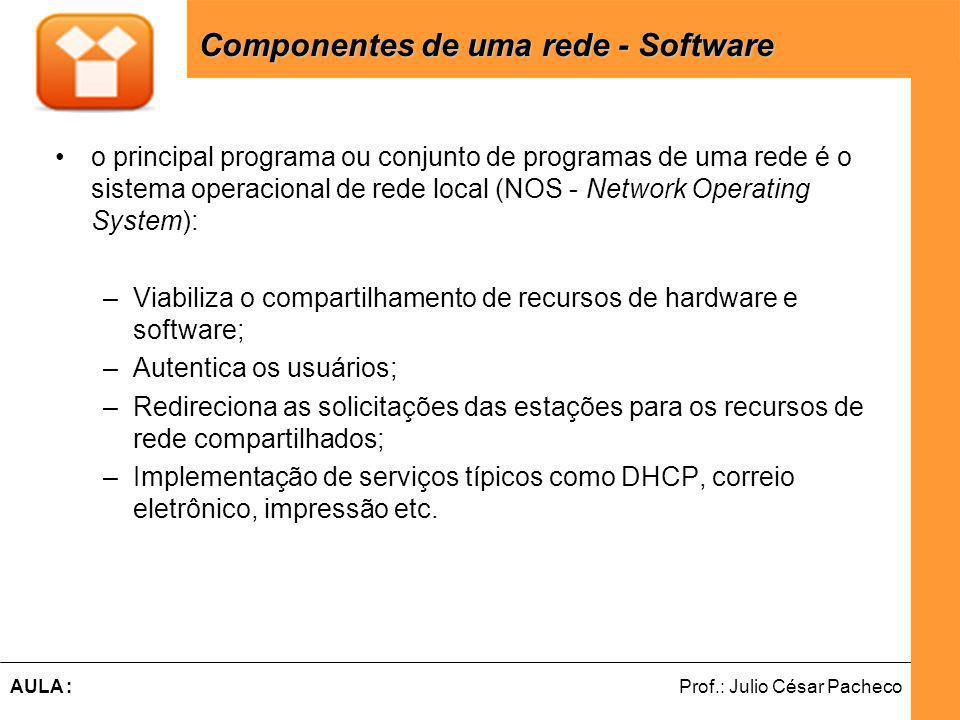 Ferramentas de Desenvolvimento Web Prof.: Julio César PachecoAULA : o principal programa ou conjunto de programas de uma rede é o sistema operacional de rede local (NOS - Network Operating System): –Viabiliza o compartilhamento de recursos de hardware e software; –Autentica os usuários; –Redireciona as solicitações das estações para os recursos de rede compartilhados; –Implementação de serviços típicos como DHCP, correio eletrônico, impressão etc.