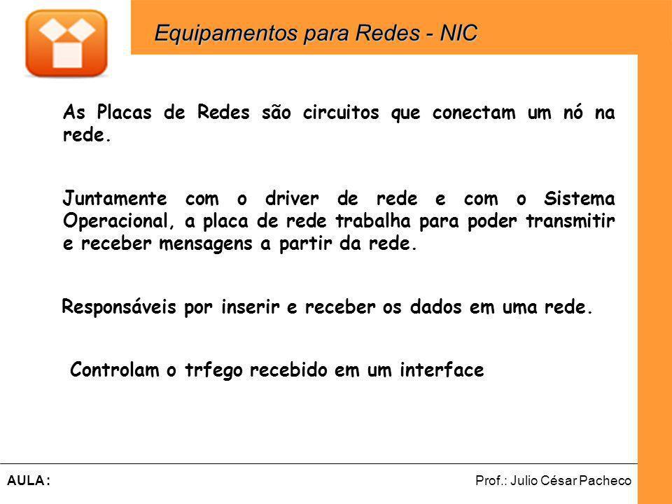 Ferramentas de Desenvolvimento Web Prof.: Julio César PachecoAULA : As Placas de Redes são circuitos que conectam um nó na rede.