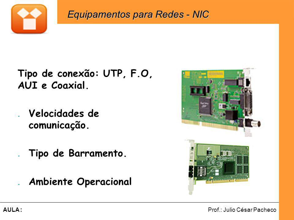 Ferramentas de Desenvolvimento Web Prof.: Julio César PachecoAULA : Tipo de conexão: UTP, F.O, AUI e Coaxial..Velocidades de comunicação..Tipo de Barramento..Ambiente Operacional Equipamentos para Redes - NIC Equipamentos para Redes - NIC