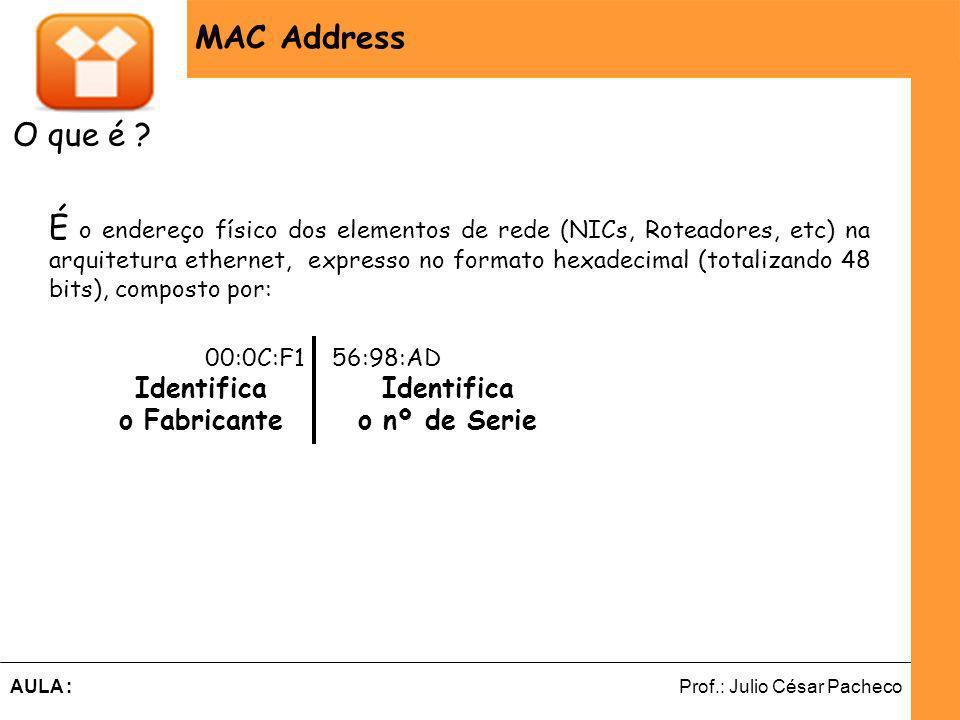 Ferramentas de Desenvolvimento Web Prof.: Julio César PachecoAULA : MAC Address O que é .