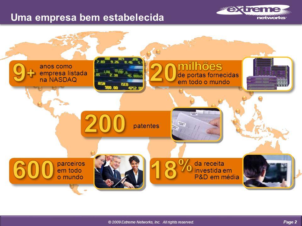 Uma empresa bem estabelecida anos como empresa listada na NASDAQ de portas fornecidas em todo o mundo da receita investida em P&D em média parceiros em todo o mundo patentes © 2009 Extreme Networks, Inc.