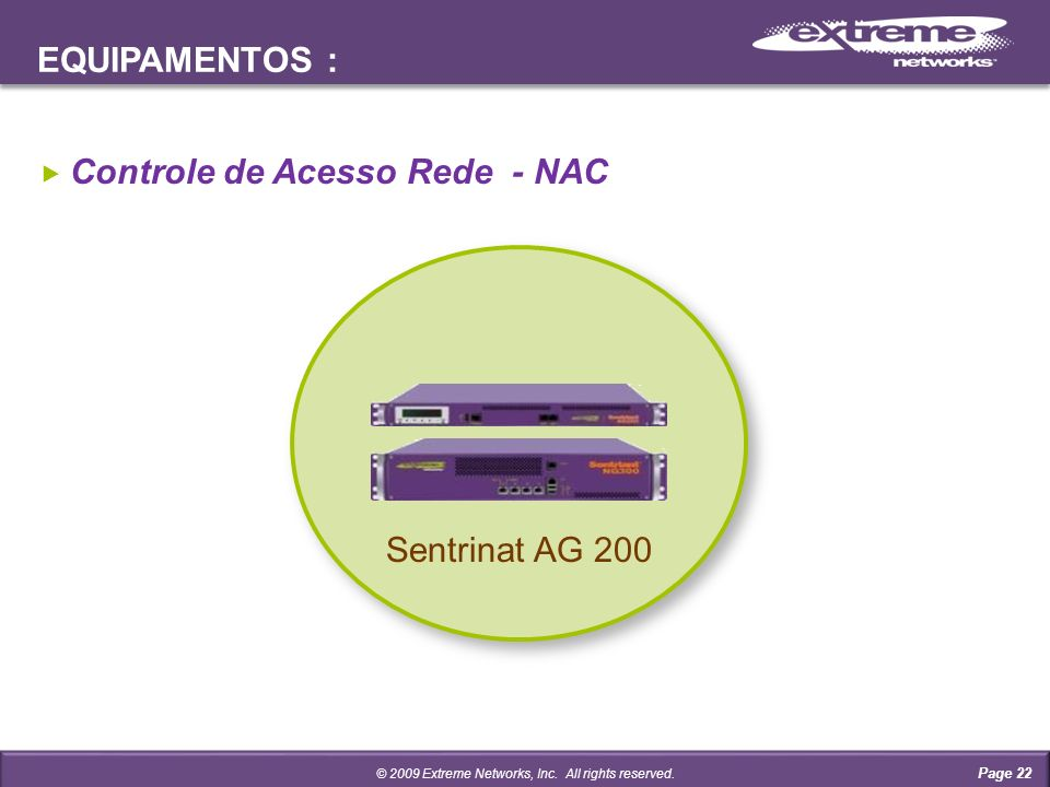 EQUIPAMENTOS : Page 22 Controle de Acesso Rede - NAC © 2009 Extreme Networks, Inc. All rights reserved. Sentrinat AG 200
