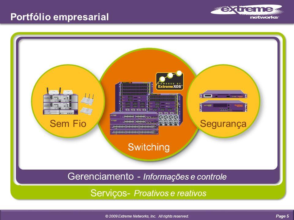 Gerenciamento - Informações e controle Portfólio empresarial Serviços- Proativos e reativos Page 5 © 2009 Extreme Networks, Inc.