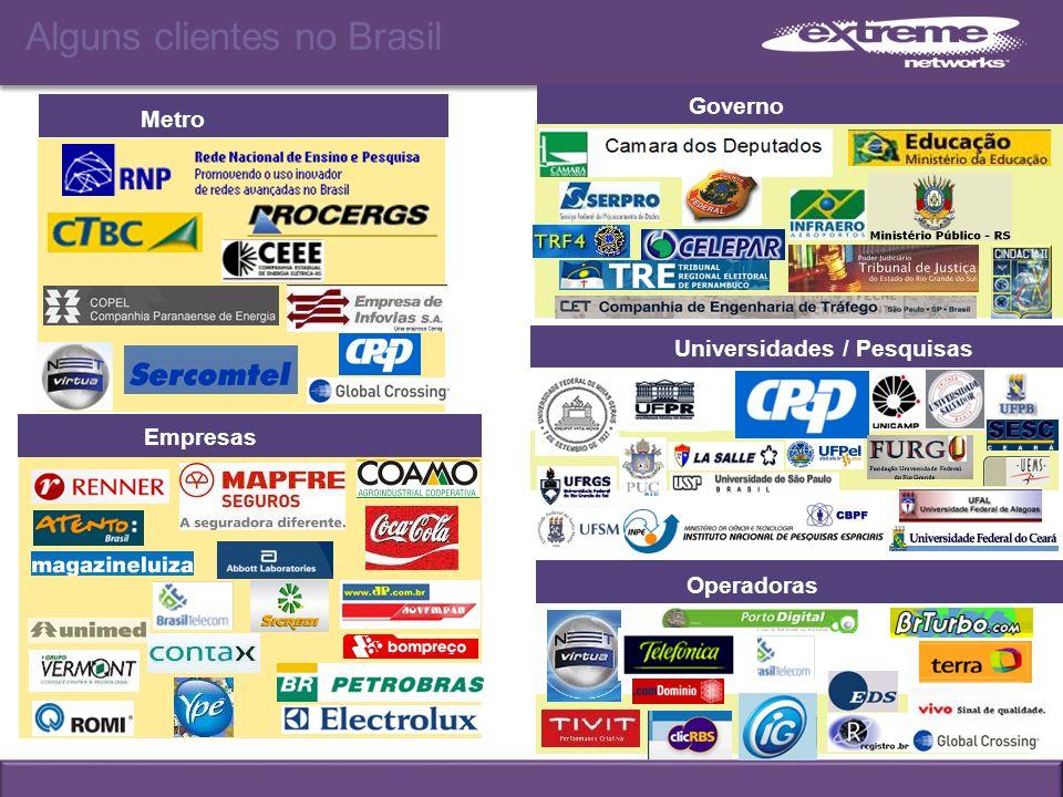 Alguns clientes no Brasil Metro Operadoras Empresas Governo Universidades / Pesquisas