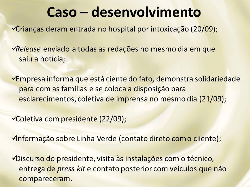 Crianças deram entrada no hospital por intoxicação (20/09); Release enviado a todas as redações no mesmo dia em que saiu a notícia; Empresa informa qu