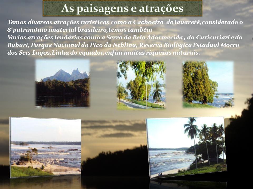 Temos diversas atrações turísticas como a Cachoeira de Iauaretê,considerado o 8°patrimônio imaterial brasileiro,temos também Varias atrações lendárias