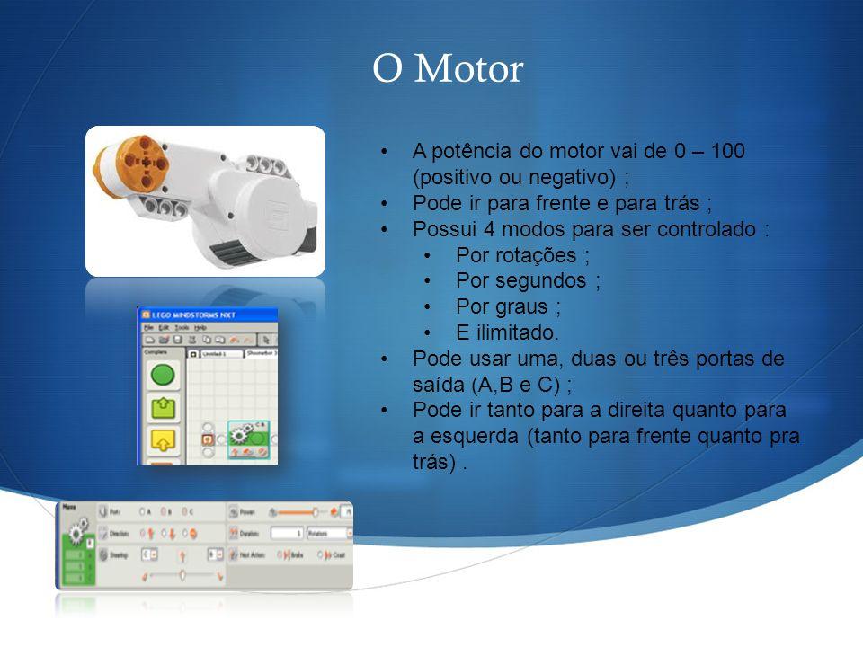 O Motor A potência do motor vai de 0 – 100 (positivo ou negativo) ; Pode ir para frente e para trás ; Possui 4 modos para ser controlado : Por rotaçõe