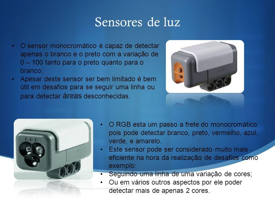 Sensores de luz O sensor monocromático é capaz de detectar apenas o branco e o preto com a variação de 0 – 100 tanto para o preto quanto para o branco