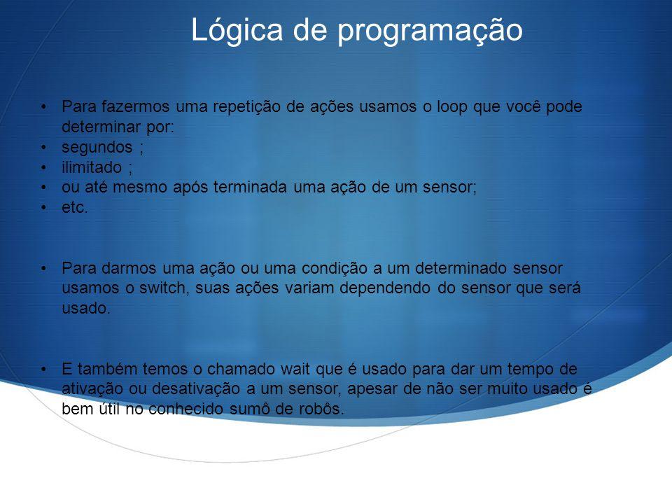 Lógica de programação Para fazermos uma repetição de ações usamos o loop que você pode determinar por: segundos ; ilimitado ; ou até mesmo após termin