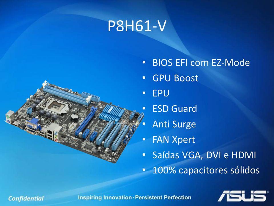 BIOS EFI com EZ-Mode GPU Boost EPU ESD Guard Anti Surge FAN Xpert Saídas VGA, DVI e HDMI 100% capacitores sólidos