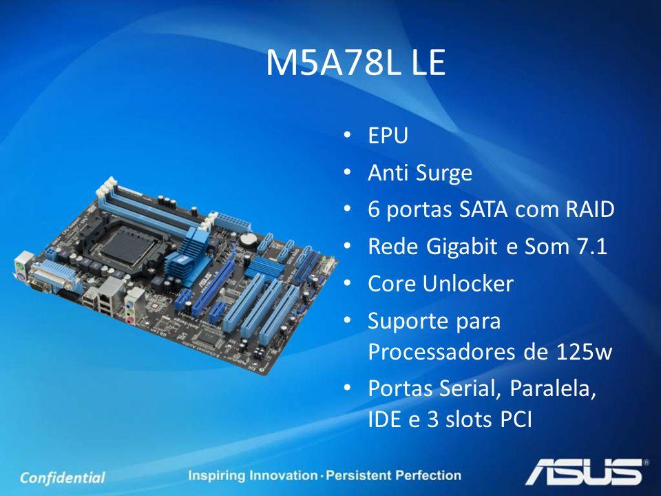 EPU Anti Surge 6 portas SATA com RAID Rede Gigabit e Som 7.1 Core Unlocker Suporte para Processadores de 125w Portas Serial, Paralela, IDE e 3 slots P
