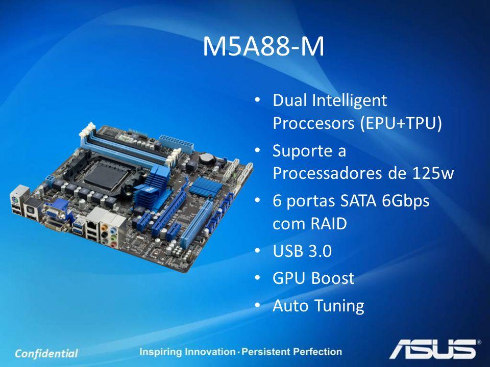 Dual Intelligent Proccesors (EPU+TPU) Suporte a Processadores de 125w 6 portas SATA 6Gbps com RAID USB 3.0 GPU Boost Auto Tuning M5A88-M