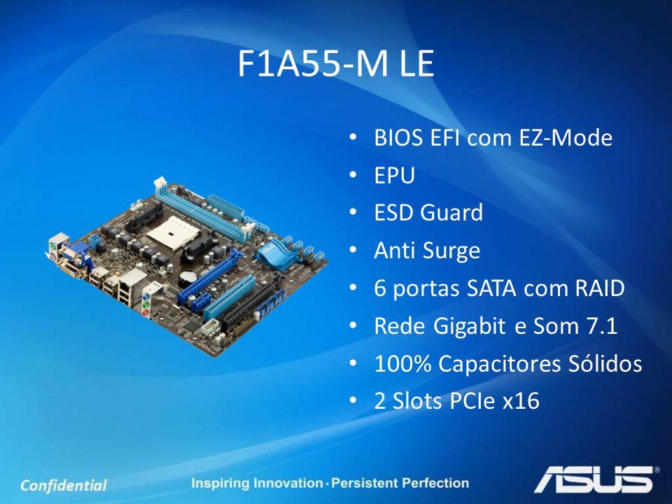 BIOS EFI com EZ-Mode EPU ESD Guard Anti Surge 6 portas SATA com RAID Rede Gigabit e Som 7.1 100% Capacitores Sólidos 2 Slots PCIe x16