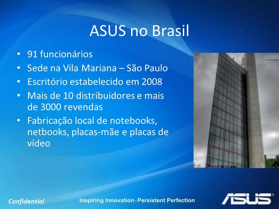 ASUS no Brasil 91 funcionários Sede na Vila Mariana – São Paulo Escritório estabelecido em 2008 Mais de 10 distribuidores e mais de 3000 revendas Fabr