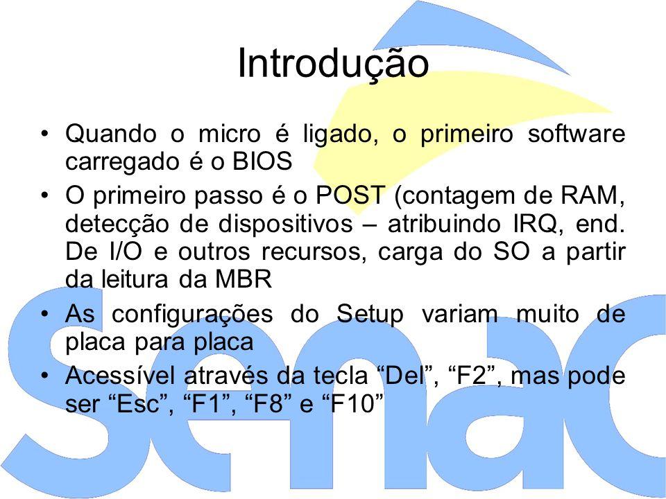 Introdução Quando o micro é ligado, o primeiro software carregado é o BIOS O primeiro passo é o POST (contagem de RAM, detecção de dispositivos – atribuindo IRQ, end.