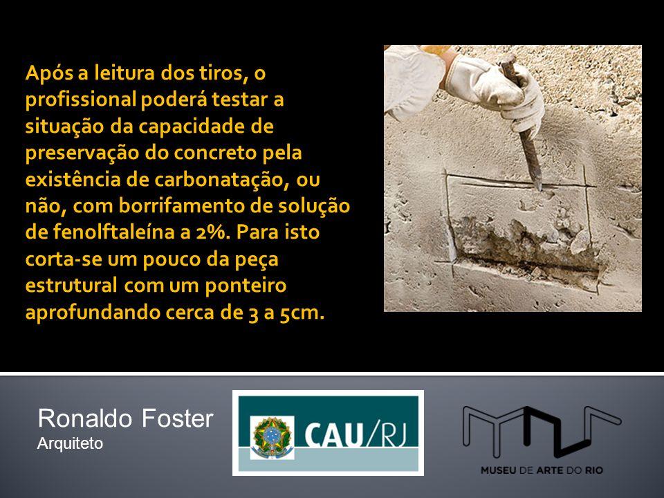 Após a leitura dos tiros, o profissional poderá testar a situação da capacidade de preservação do concreto pela existência de carbonatação, ou não, com borrifamento de solução de fenolftaleína a 2%.