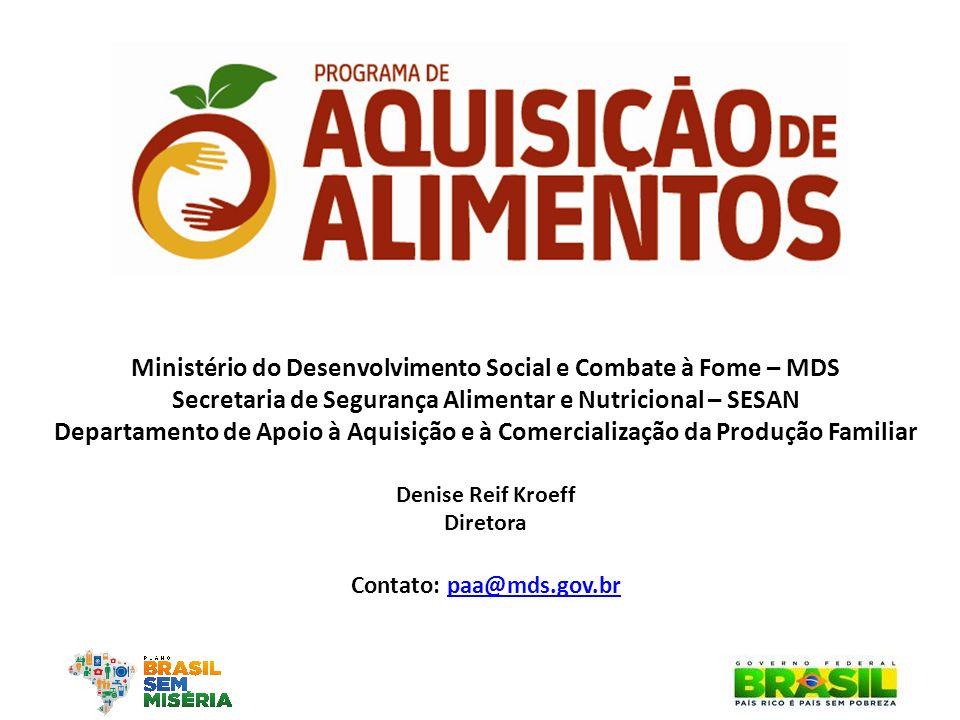 Ministério do Desenvolvimento Social e Combate à Fome – MDS Secretaria de Segurança Alimentar e Nutricional – SESAN Departamento de Apoio à Aquisição